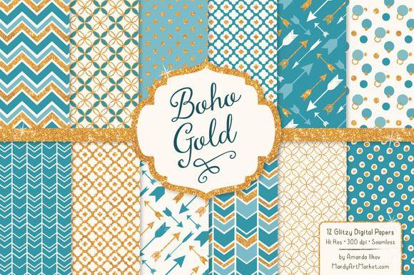 Vintage Blue Glitter Patterns by Amanda Ilkov on Creative Market