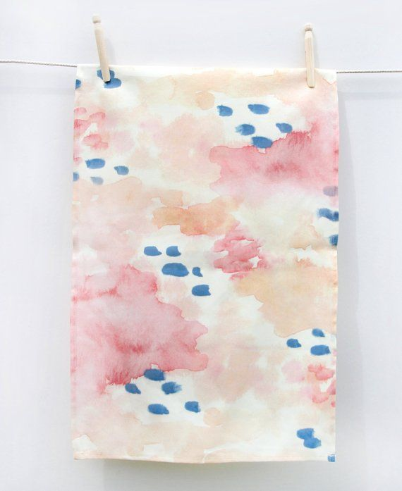 Tea Towel Originally Painted In Watercolors Colors Orange