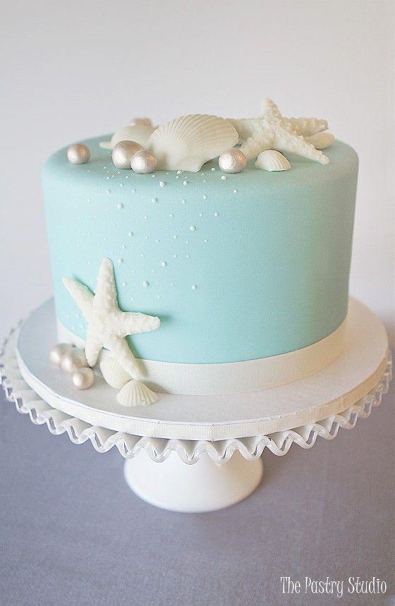 Tiffany Blue Single Tier Beach Theme Fondant Cake Baby