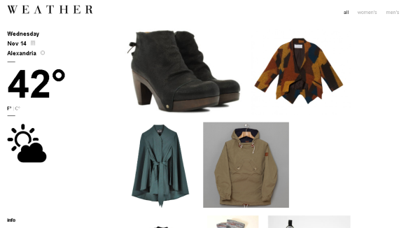Wevther - great website for outfit inspiration based on the weather near you - items link to where you can purchase them