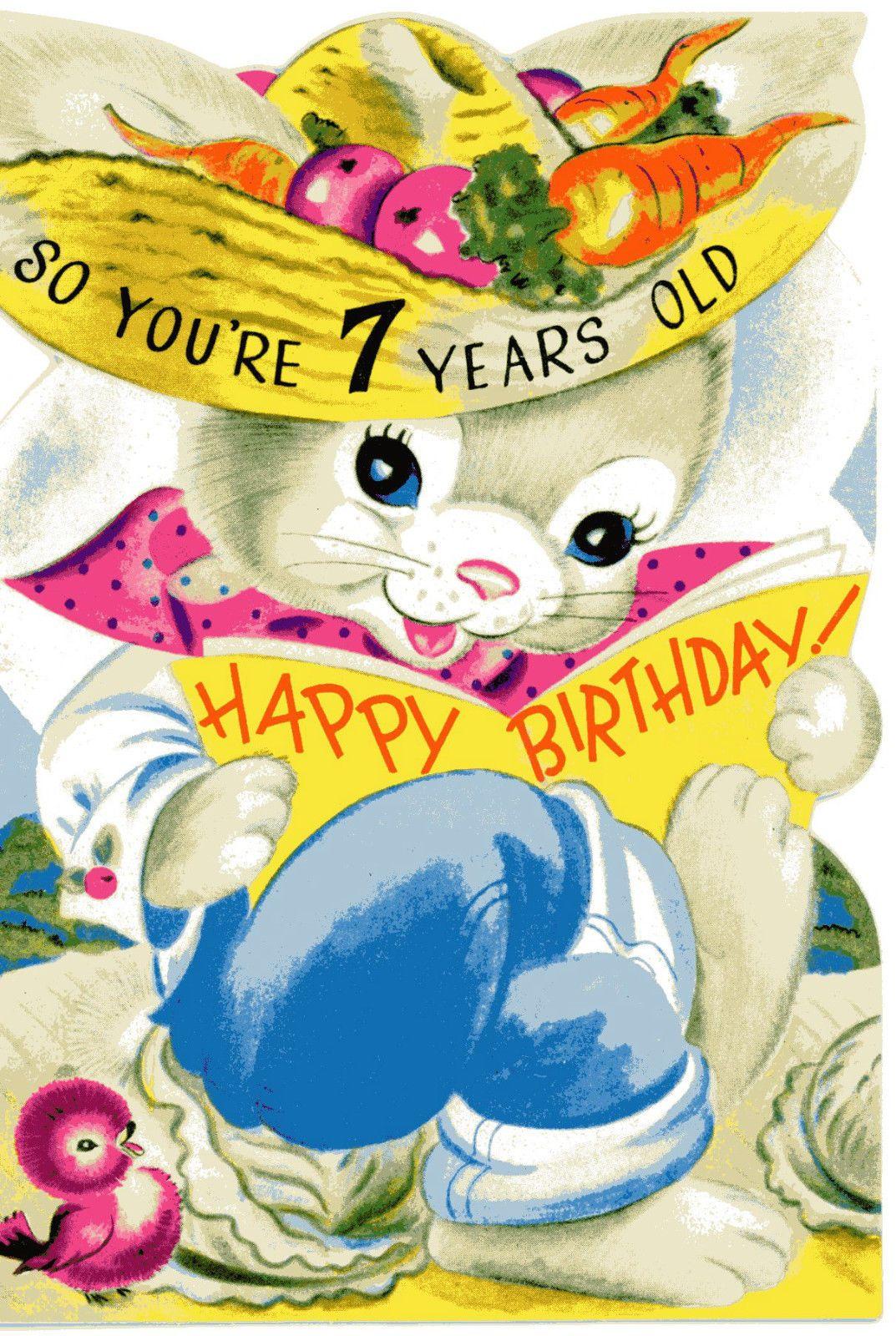 Vintage Original Unused Greeting Card Happy Birthday 7 Years Old