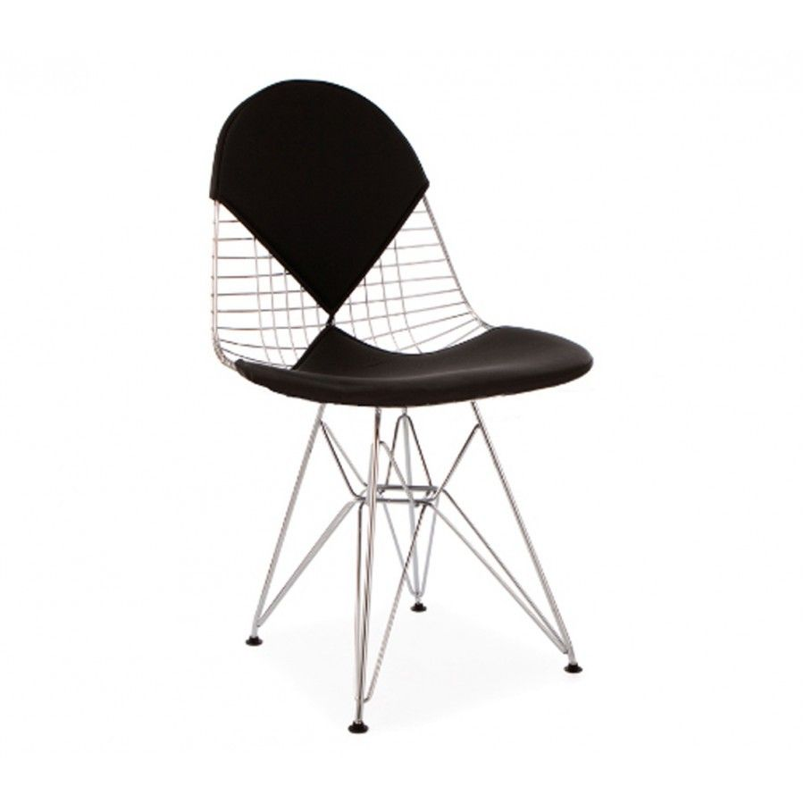 Eames Style Wire DKR Bikini Chair   With a black or white seat   backrest  cushionEames Style Wire DKR Bikini Chair   With a black or white seat  . Eames Dsw Dsr Dss Faux Leather Seat Pad. Home Design Ideas