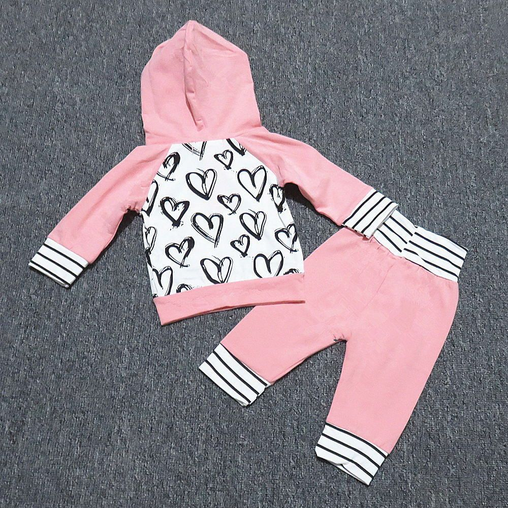 07dd414b7c58 Toddler Infant Baby Girls cotton Clothes Autumn Cute Love heart Print  Clothes Set Hooded Tops+Pants Outfits 2pcs Suit