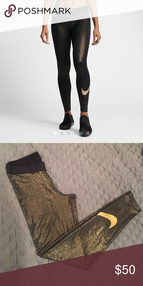 Nike Pro Metallic Gold Training Tights - NWOT NWOT - Dri-FIT; flat elastic waistband; stretch fabric Nike Pants