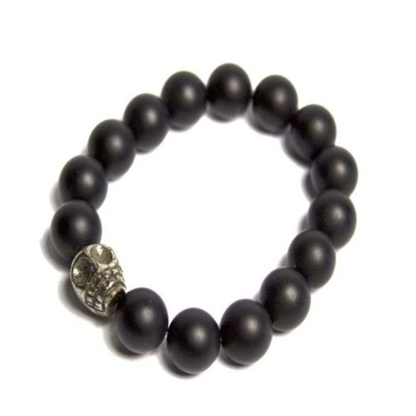 "Unisex Big Skull Bracelet 8"" with Hematite Skull Head and Black Matte Beads  12mm beads  $45"