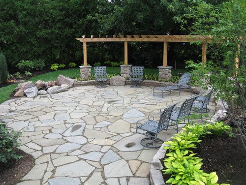 Stone Patio Design Ideas irregular flagstone patio crazy paving flagstone smalls landscaping inc valparaiso Natural Stone Front Patio Ideas 10 Photos Of The Awesome Stone Patio Designs Ideas For