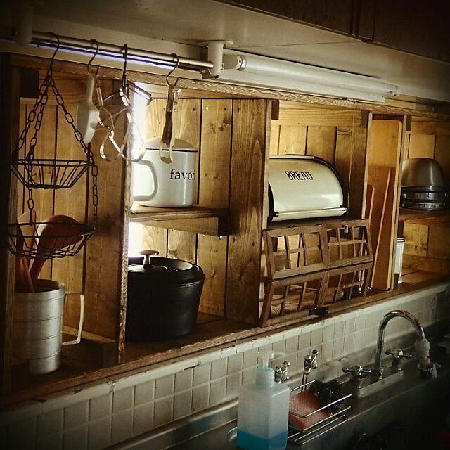 キッチン 見せる収納 カフェ風 ナチュラルインテリア カフェ風