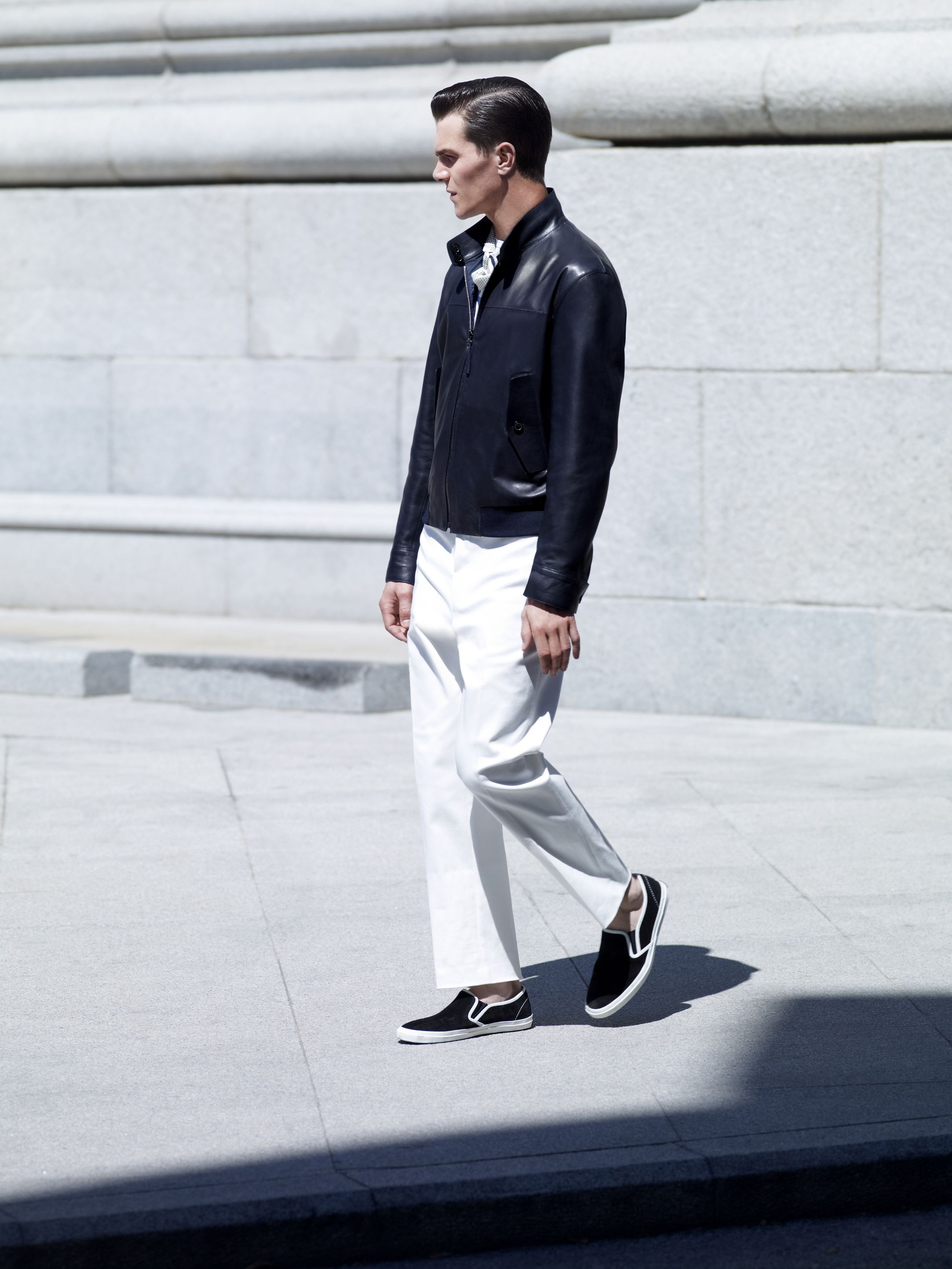 Navy Napa Reversible Bomber Jacket/  Chantilly White Cotton Chino Trousers/  White Twill Scarf/  Black Suede Deck Shoes