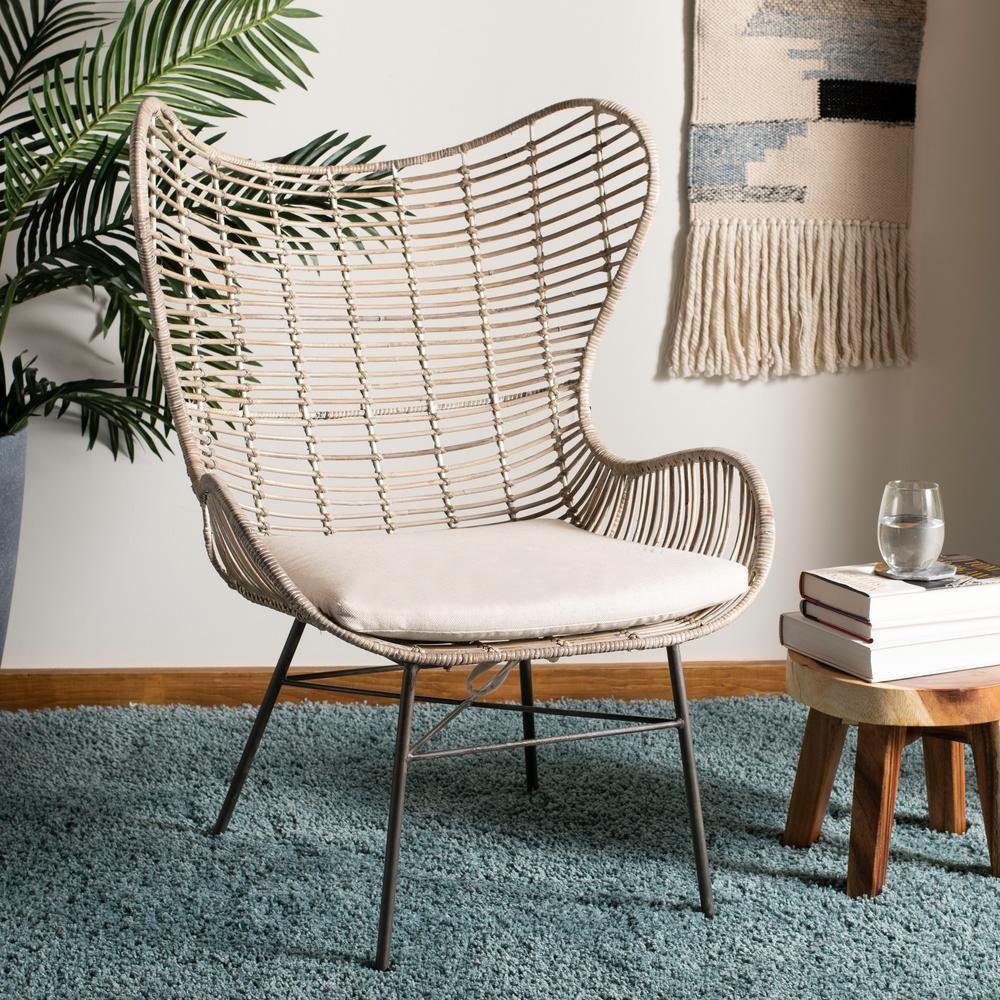 Safavieh Malia White Wash Rattan Wingback Accent Chair Living