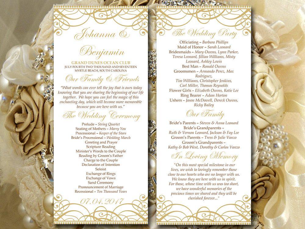 DIY Wedding Program Template - Tea Length Program Flourish Gold ...