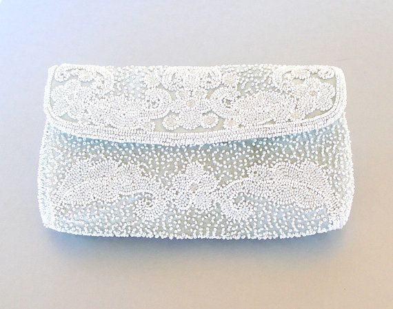 Vintage Beaded Clutch Pastel Blue-Grey Clutch White Beaded Clutch Vintage French Handbag