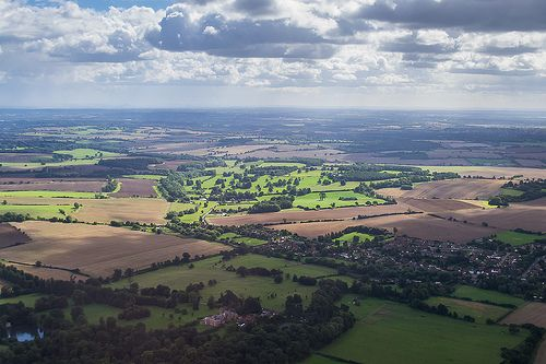 English landscape as the bird flies, beautiful countryside