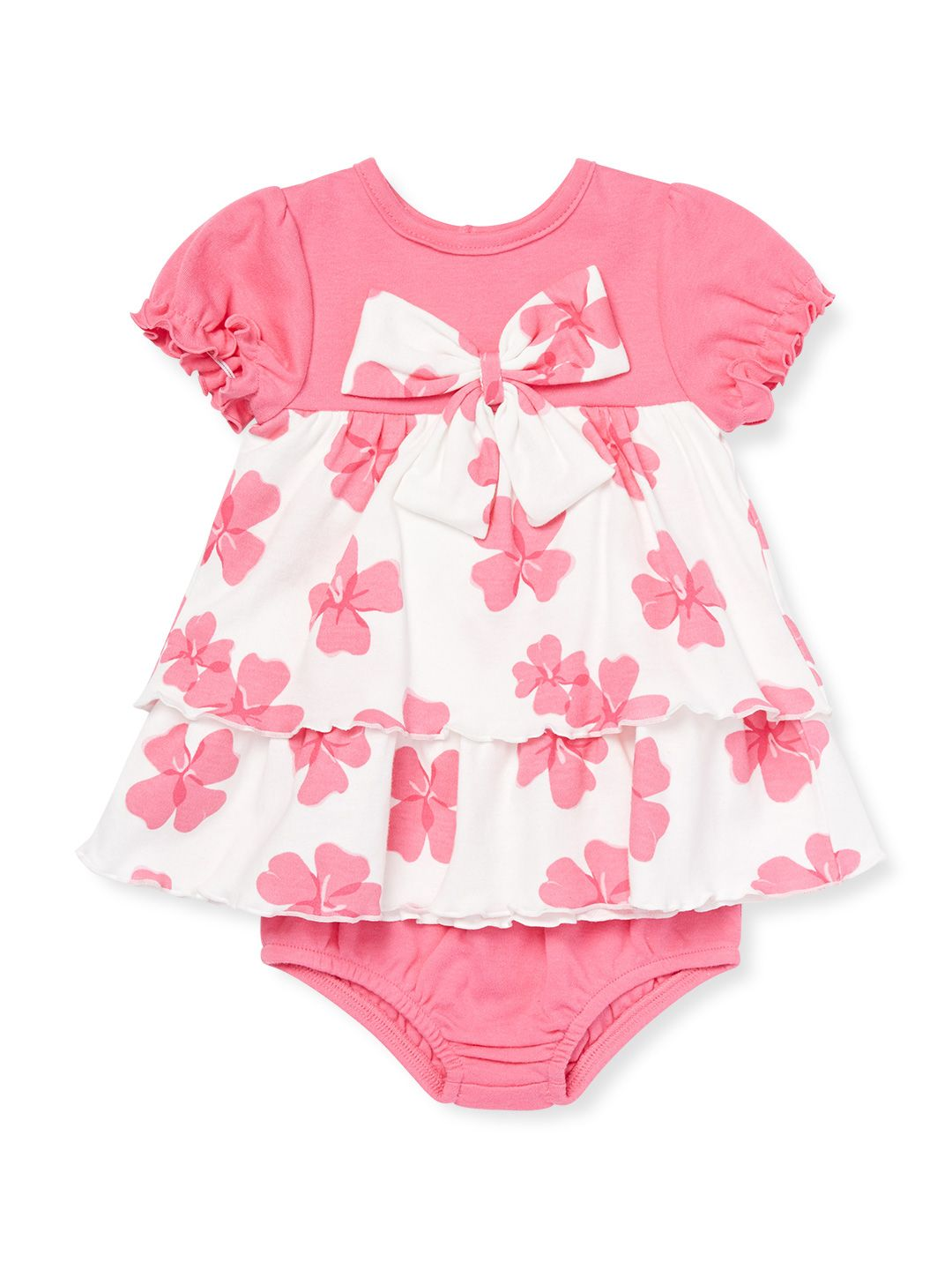 Tiered Floral Print Dress with Diaper Cover