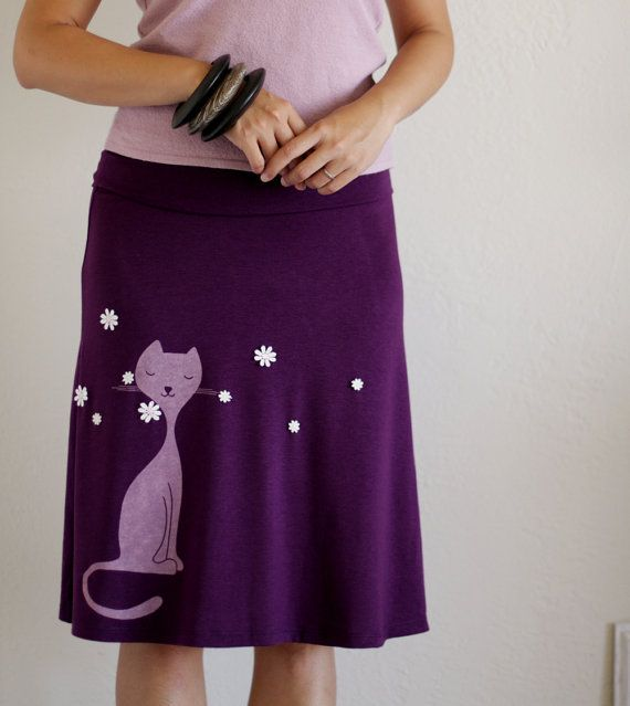 Womens Fashion - A-line Knee Length Skirt . Plum purple skirt . Handmade Jersey skirt -Sniffing Kitty - size L