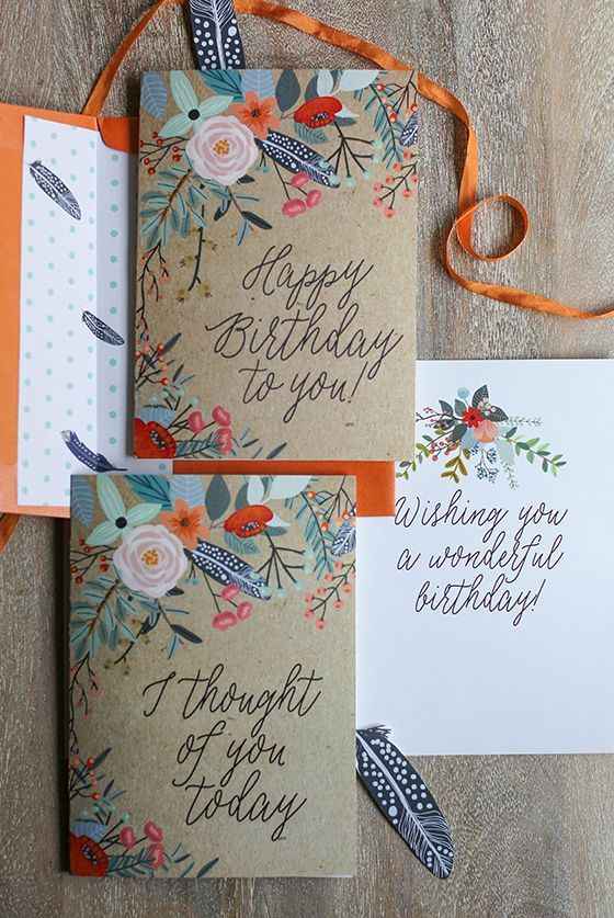 Free Printable Floral Greetings Cards A Wonderful Gift Designed By Lia Griffith Thank You Birthday Card Printable Birthday Cards Diy Cards Handmade