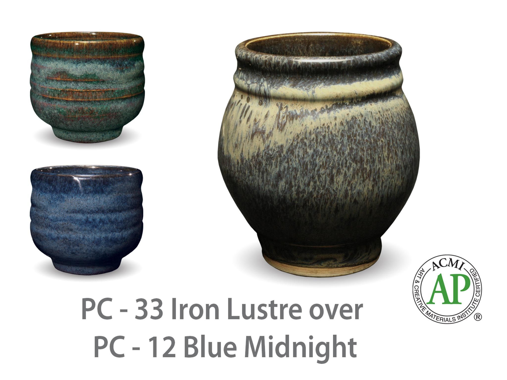 Photo of cup glazed with PC-33 Iron Lustre over PC-12 Blue Midnight