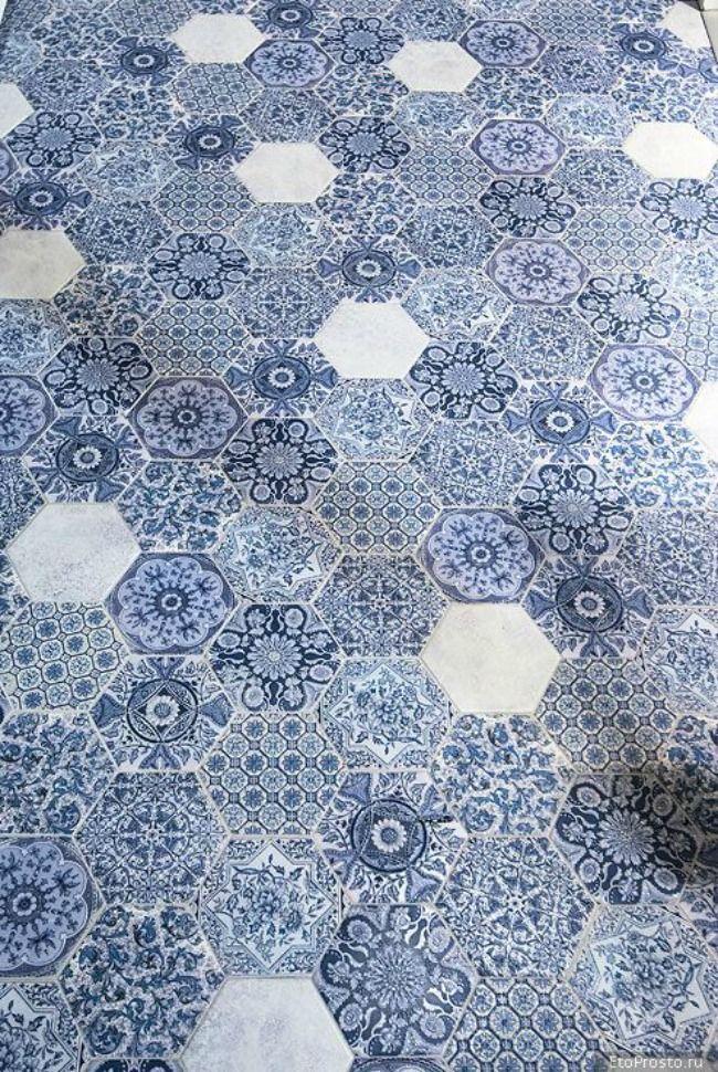 Simply Fabulous Chic - Hello Hexagon - blue tiles floor