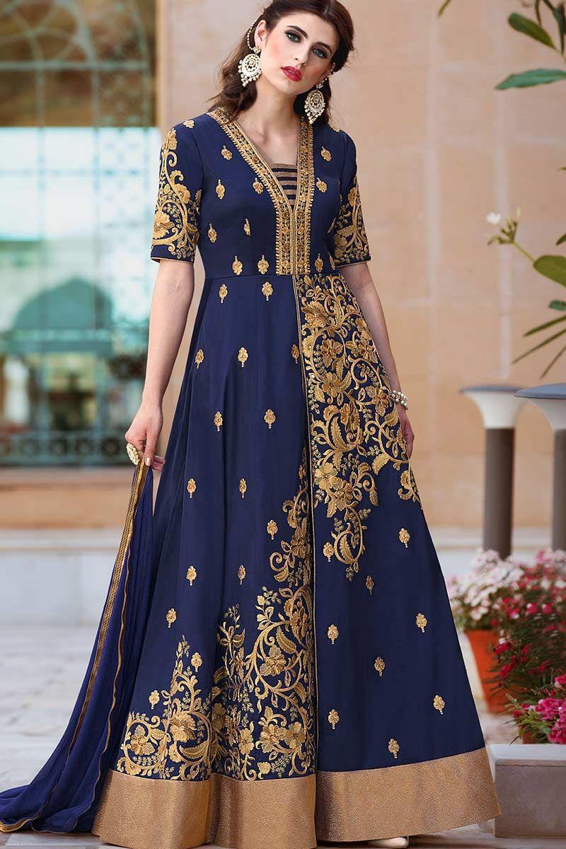 ad50a977fe Navy Blue Heavy Tafeta Silk Anarkali Suit Price - £92.00 Occasion Party Wear,  Wedding Wear, Festival Wear, Ceremonial Color Blue Fabric Chiffon, ...