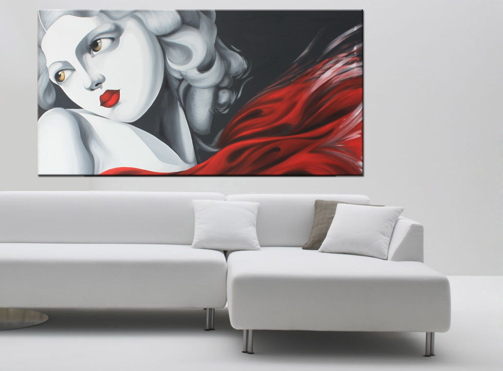 Quadri moderni dipinti su tela, paesaggio fantastico stilizzato ...