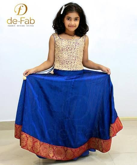 043bbf5233aa Raw silk umbrella skirt with golden net embroidered top. Total cost : Rs  3500