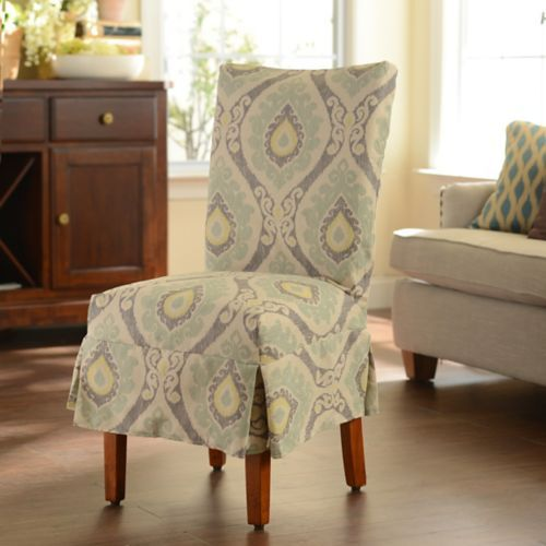 Blue Ikat Parsons Chair Slipcover
