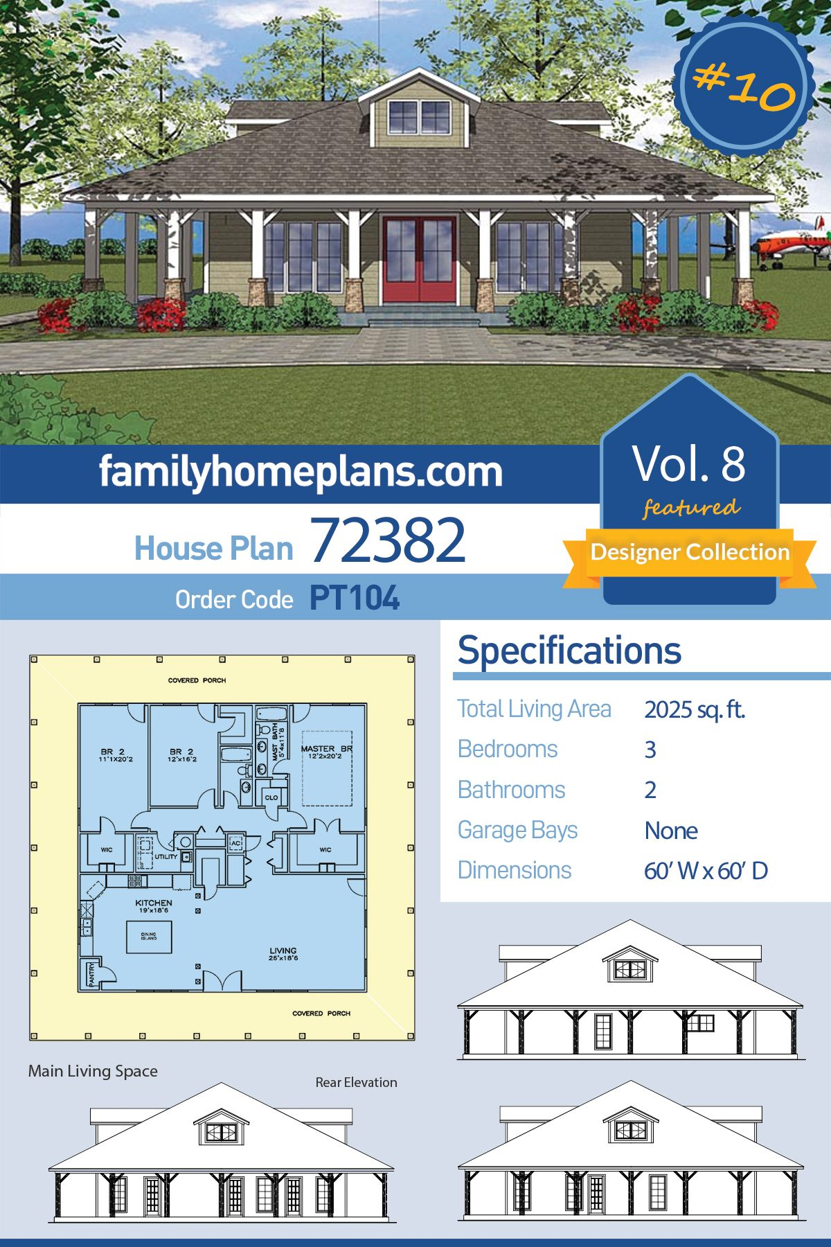 Southern Style House Plan 72382 With 3 Bed 2 Bath Porch House Plans Cottage House Plans Craftsman House Plan