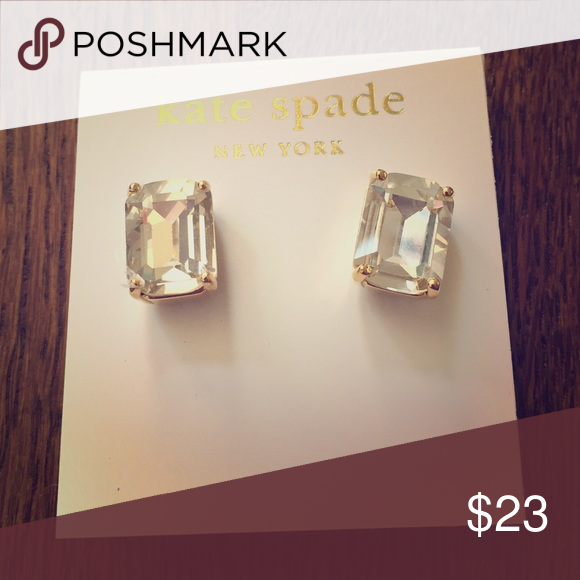 Kate Spade New York Clear & Gold Stud Earrings The perfect stud earring for any day of the week! kate spade Jewelry Earrings