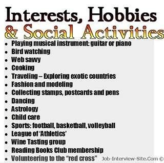 Resume Interests Examples Examples Of Hobbies And Interests On Resumeinterests To Put On
