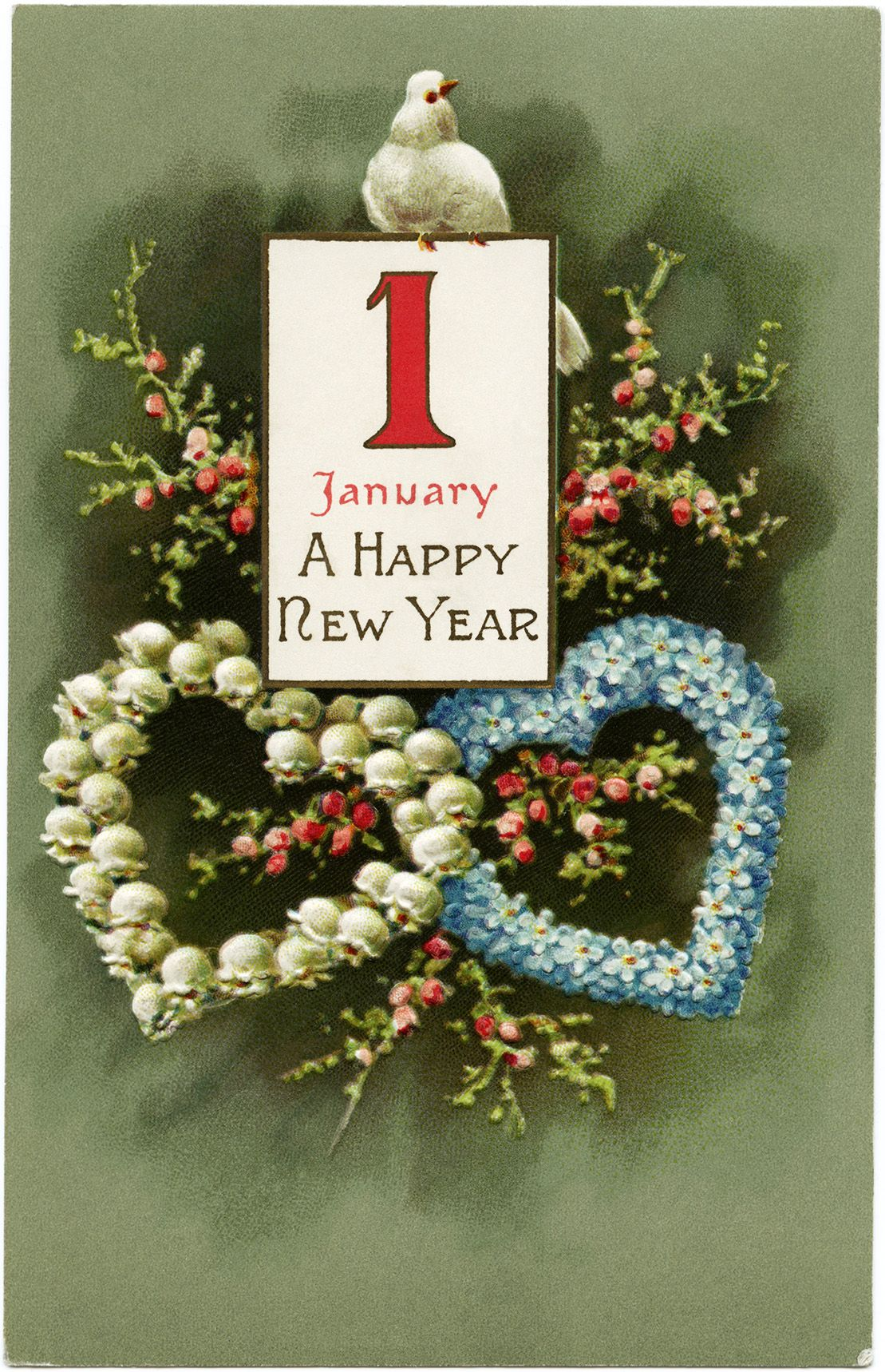 vintage New Year bird postcard, vintage floral clip art