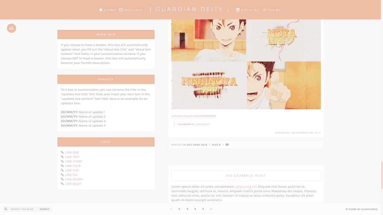 """""""REVAMPED: Theme [10]: Guardian Deity by glenthemes """" This theme was previously called """"Revival"""", but is now revamped as """"Guardian Deity"""" and features Nishinoya Yuu from Haikyuu!!. ► PREVIEW 1 (full..."""