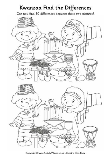 Kwanzaa Find The Differences Intergenerational Worksheets