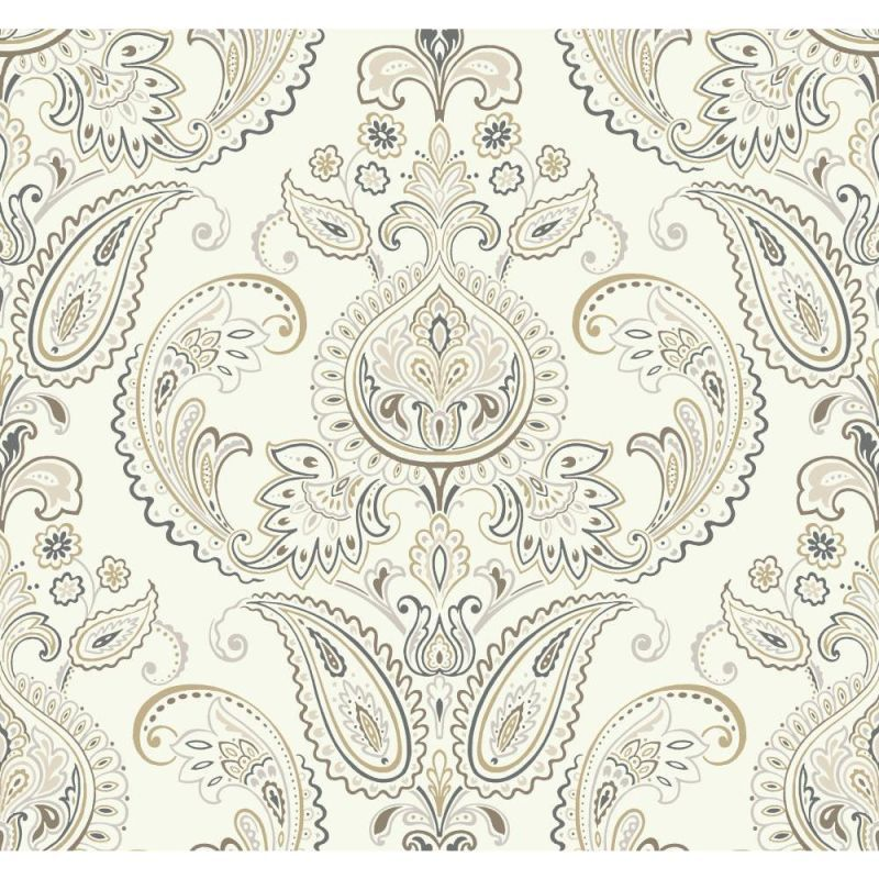 York Wallcoverings ND7079 Tasara Wallpaper White / Brown / Gold / Silver / Charcoal Blue Home Decor Wallpaper Wallpaper