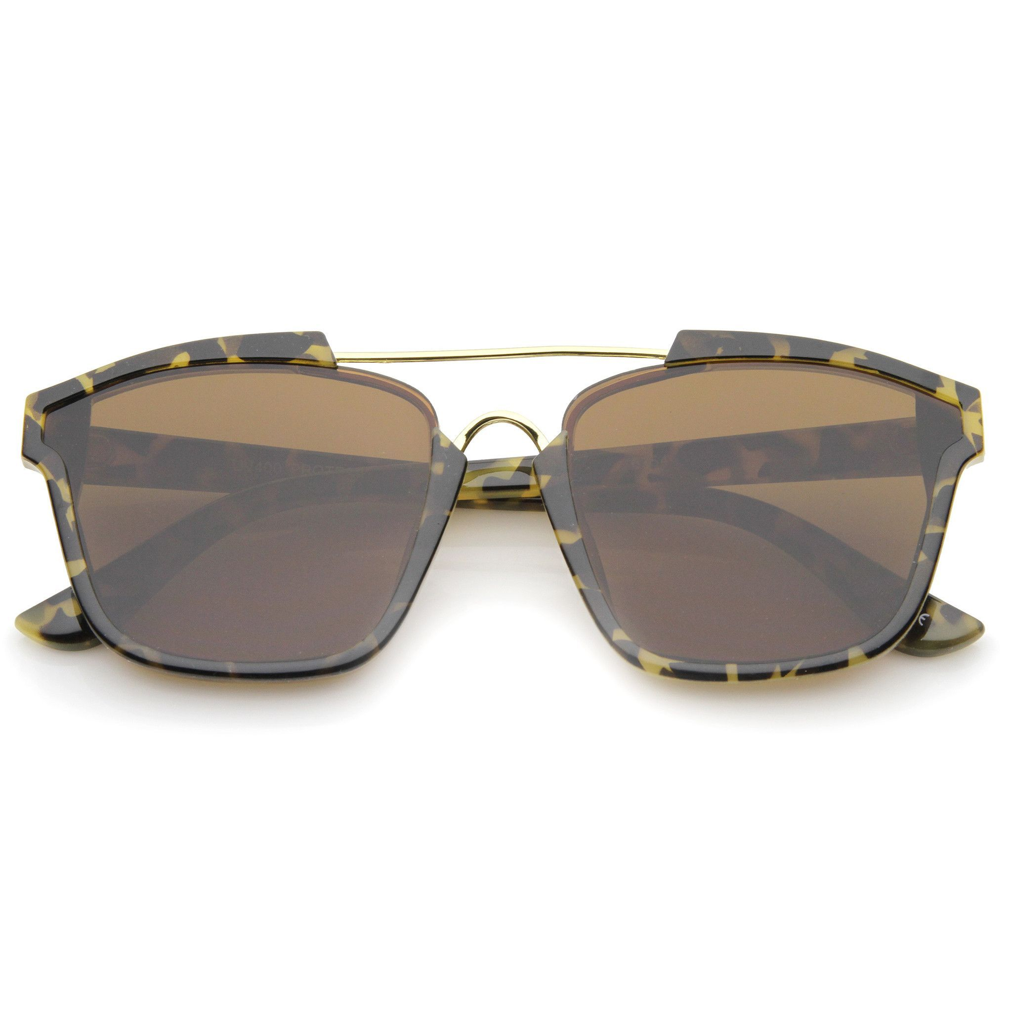 Modern Pinched Brow Flat Lens Aviator Sunglasses A458