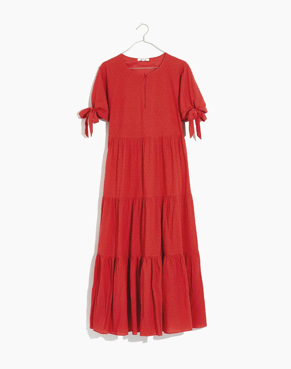 Tie Sleeve Tiered Midi Dress In Swiss Dot Midi Dress Dresses Tie Sleeve [ 1270 x 1000 Pixel ]