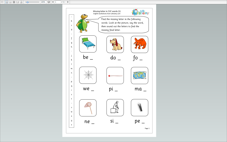 Missing Letters Cvc Words 1 Cvc Words Family Worksheet Words [ 900 x 1440 Pixel ]