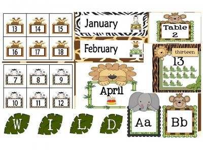 Jungle/Safari Calendar Set and Classroom Decorations from Bilingual Resources on TeachersNotebook.com -  (140 pages)