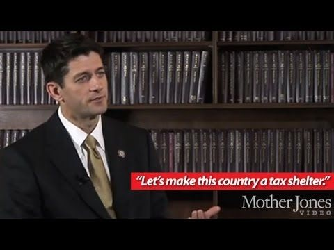 "In another  unearthed Mother Jones video, Paul Ryan wants to make America a ""tax shelter."" Forget that tax shelters are typically tiny nations where banks dominate the economy. Forget that America's biggest problem — income inequality — is only fueled by tax breaks for the rich.   Paul Ryan understands the plight of Mitt Romney — a man who seems to have spent most of his adult life avoiding taxes-he wants to make it easier for him, even though taxes as a share of GDP are at a half-century…"