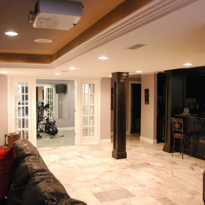 basement workout room with french doors basement in 2020