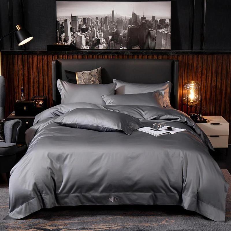 Egyptian Black Duvet Cover Sheet Set Forhabitat In 2020 Bedding Set Egyptian Cotton Duvet Cover Cotton Bedding Sets