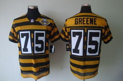Nike Steelers  75 Joe Greene Yellow Black Alternate 80TH Throwback Men s  Embroidered NFL Elite Jersey  Emillia Kelly 8f018c4a1