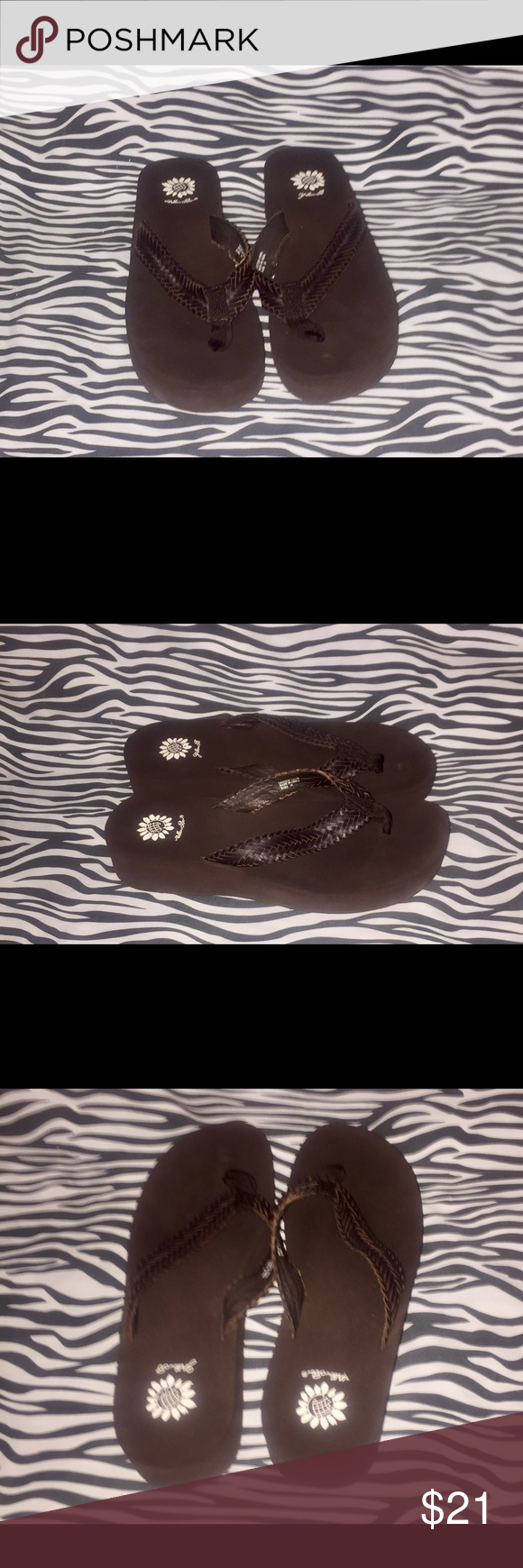 Brown Yellow Box Flip Flops Size 10. Brown Leather Upper worn twice in great condition. Yellow Box Shoes