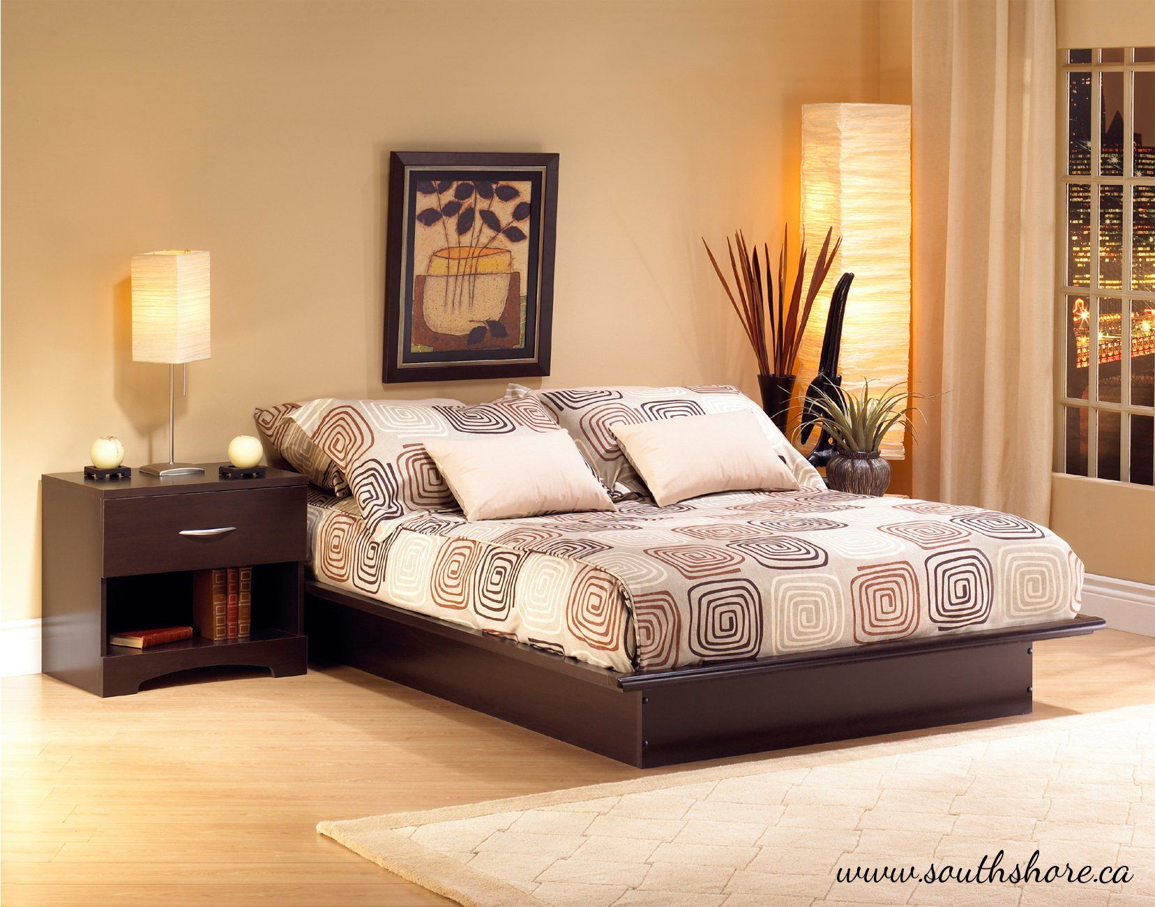 Amazon.com - South Shore Furniture Step One Collection Queen Platform Bed, Chocolate - Queen Bed Frame