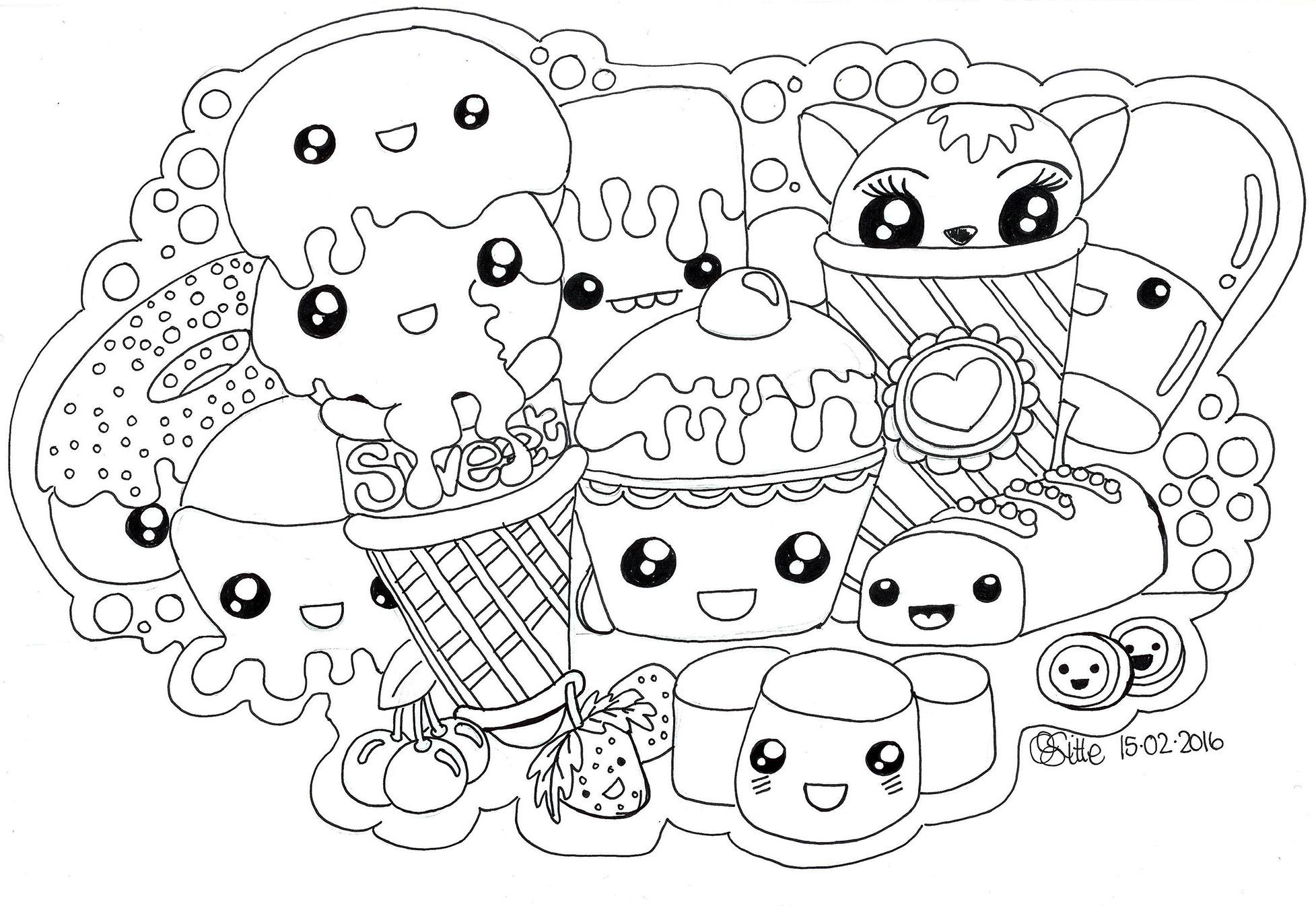 Doodle Coloring Pages Kawaii Unicorn Coloring Pages