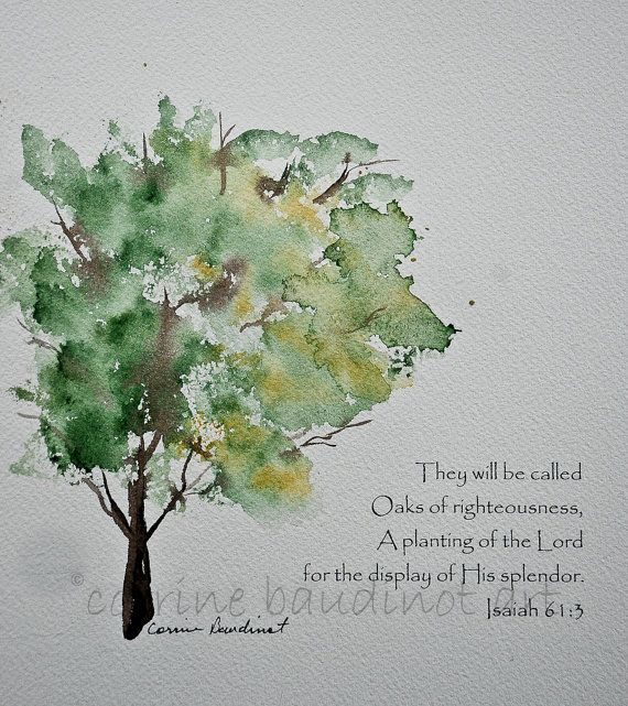 Oak Tree Watercolor Painting Green Gold And Brown With Bible