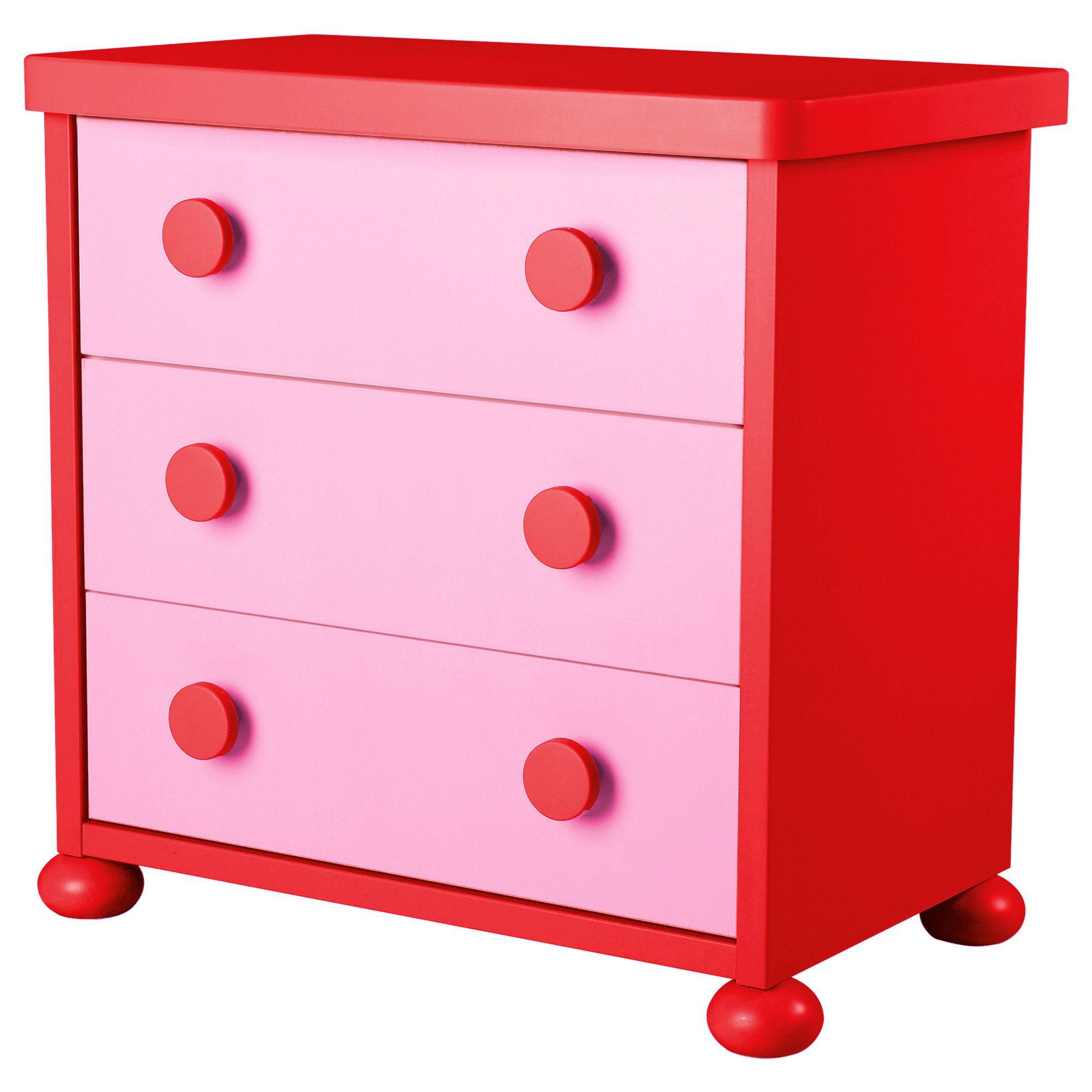Ikea kids table mammut - Mammut 3 Drawer Chest Pink Red Ikea