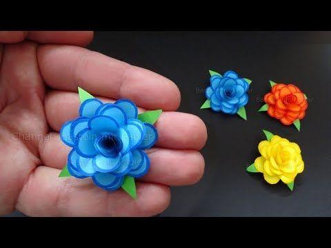 Rosen basteln mit Papier - Kleine Blumen als DIY Deko & Geschenk Origami Bastelideen - YouTube #crepepaperroses