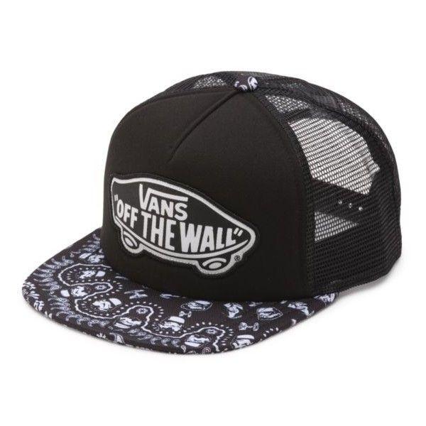 Men's Vans Basic Logo Embroidery Mesh Back Trucker Snapback Hat - White / Black