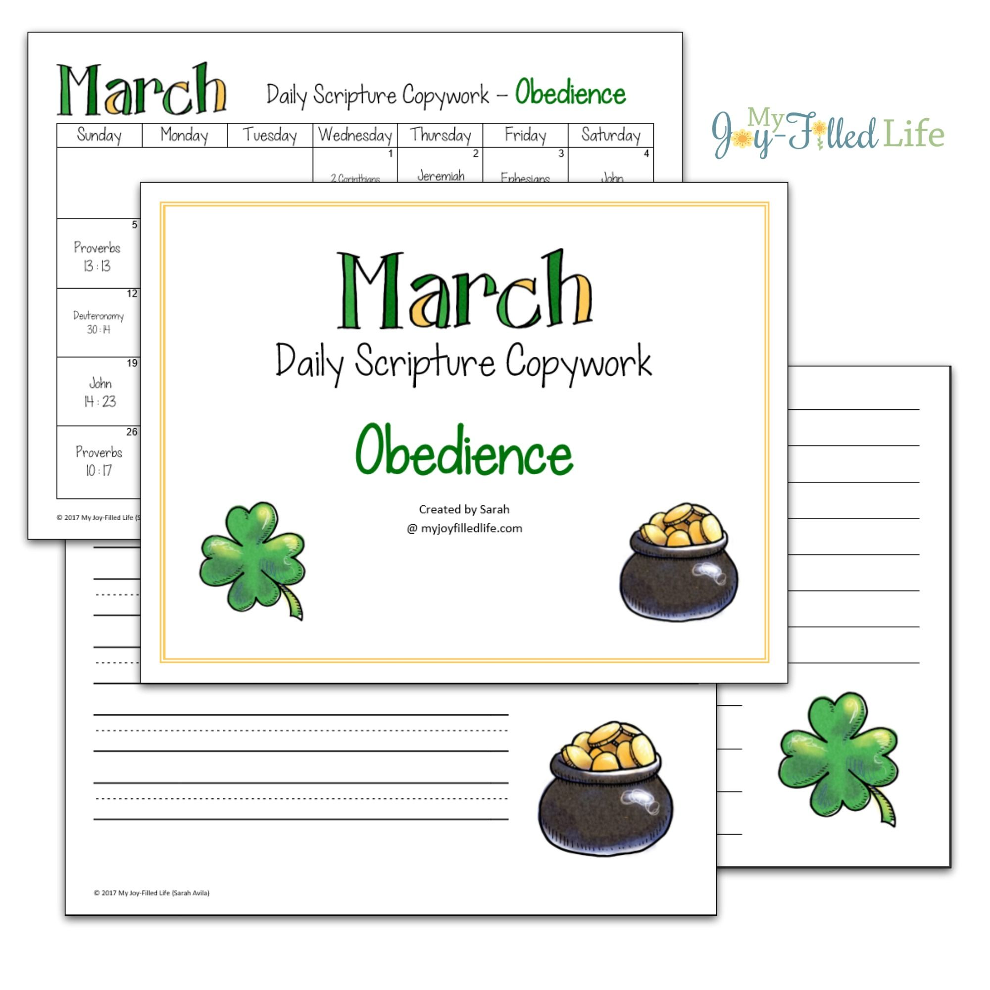 Daily Scripture Copywork Calendar For March