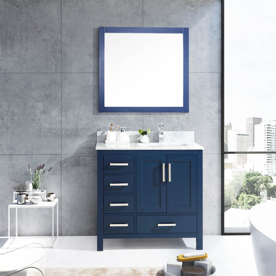 Lexora 36 Inch Jacques Bath Vanity Color Matte Navy Blue Left Side Blue Bathroom Vanity Modern Bathroom Vanity Bathroom Vanity