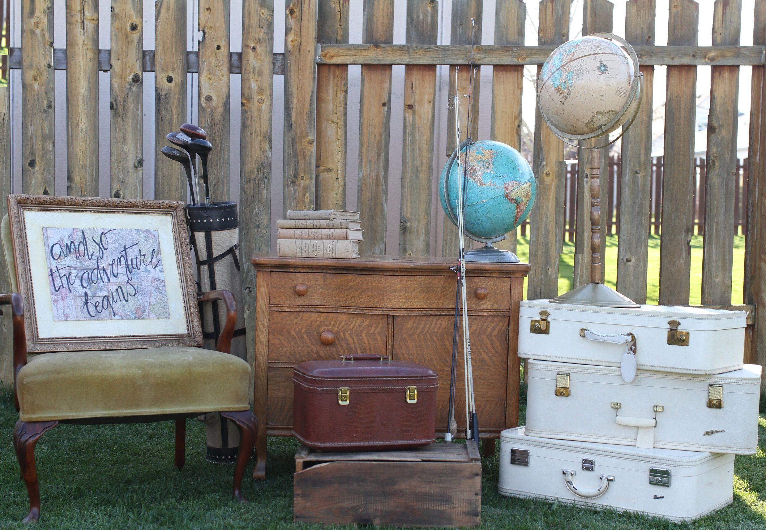 Antique Dresser - Photo Props - Antique Globe - Vintage Suitcases - Vintage Golf Clubs - Antique Golf Bag - Adventure Wedding Setup - Adventure Wedding Props